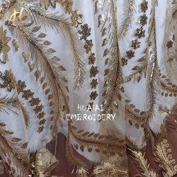 De Oro mayorista de ropa de India Sequin Fancy ronda de bordado mantel para la boda de lujo