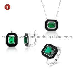 Fashion Jewelry Green Stone 925 Sterling Silver Gold Zwart email Luxe Ringen Oorbellen ketting Sieraden Set