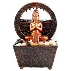 石が付いている水噴水の中の小型表の装飾の樹脂のPolyresin屋内Budas Fengshui仏の彫像