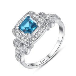 Quadrado azul Gemstone 925 Silver Mulher Moda anéis de casamento