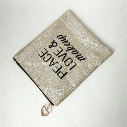 Impresionante el brillo de oro Glitter la paz el amor de promoción de la bolsa de cosméticos maquillaje