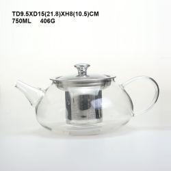Classic modelo chinês lado soprado Pot grande de vidro borossilicato cafeteira/bule de chá com Metal Rosebox