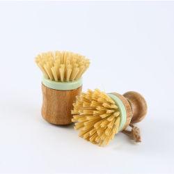 Spazzola di bambù del piatto di pulizia rotonda delle spazzole di lavaggio del piatto del POT e della vaschetta della mano con l'amo di tela della corda