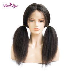 La DENSIDAD DE CABELLO 150% Brasileña Yaki de onda de Cabello Natural Remy Suiza Puntilla de encaje completo Secador de cabello pelucas