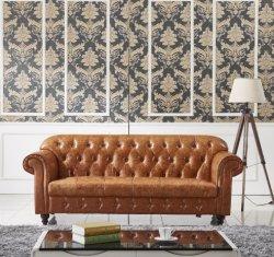 El lujo de antigüedades clásicas Chesterfield tapizados en el botón Veour Tufted chino Italia la parte superior de cuero de grano asiento de atrás del brazo de Living muebles sofás Chesterfield