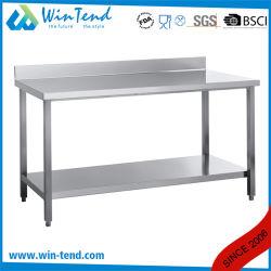 Estante de acero inoxidable tubo cuadrado de construcción robusta reforzado Backsplash maciza mesa de trabajo con la pierna ajustable
