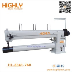 El brazo largo del cilindro de aguja doble cama al unísono la máquina de coser de uso intensivo de alimentación