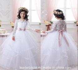 A - Toga Z1049 van het Bruidsmeisje van de Kleding van de Meisjes van de Bloem van de lijn de Witte Roze Ondergeschikte
