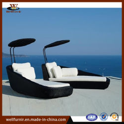 藤の屋外の家具の日曜日のLoungersの柳細工の寝台兼用の長椅子(WF-305)
