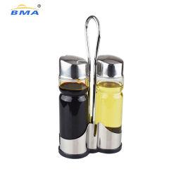 Bma Factory azeite e vinagre sal e pimenta do conjunto de dispensador Galheta definir com Suporte de Aço Inoxidável