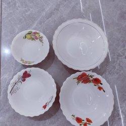 اثنان زهرة تصميم أبيض خزفي سلطة الكأس يستخدم يوميا السيراميك وعاء