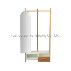 Peça de vestuário de bambu Rack com duas gavetas e espelho