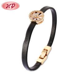 Meninas Zircon Favoritos Cores Redonda Diamond Bracelete da cadeia de couro