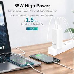 Gainstrong 2020 neue Technologie-Miniaufladeeinheit GaN 65W Wand-Aufladeeinheit GaN Wand-Aufladeeinheit USB Palladium-65W für MacBook Samsung 20