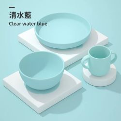 مصنع بيع السيليكون لوحة كأس لوحة بيبي مجموعة أدوات مائدة سيليكون