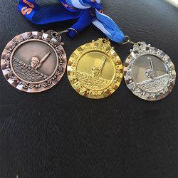 Médailles en alliage de zinc de club de natation, or//Bronze argenté plaquées, avec la bande procurable