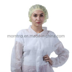 伸縮性がある袖口が付いているホック及びループクロージャの非編まれた大人の使い捨て可能な隔離の白い実験室のコートのジャケット