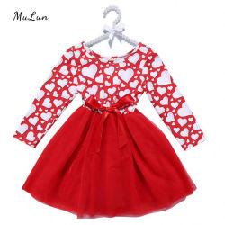 Commerce de gros Custom robe rouge pour les enfants Les enfants Automne Hiver vêtements bébé fille robes de Noël