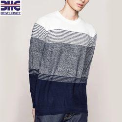 Späteste Entwurfs-Baumwolle 100% Striped gestrickte Muster-runde Stutzen-Form-Strickjacken für Männer
