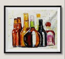 Pitture a olio moderne Handmade di arte della parete della bottiglia di vino della decorazione