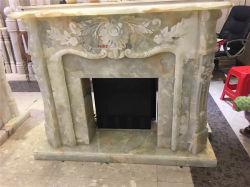 Moreroom decorativos de piedra natural verde Onyx chimenea de piedra en talla y escultura