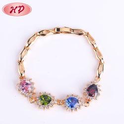 Neues Fshion 18K Gold überzogene Charme-Leder-Frauen-Armband-Ketten-Gummimann-Armband-Schmucksachen