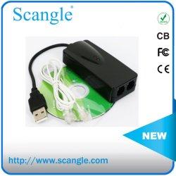 Dispositivo USB 56K Fax modem V. Externo 90 V. 92 com dois conectores RJ11 Portos
