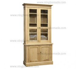 Mobiliario clásico nórdico antiguo roble natural de cuatro puertas armario superior e inferior