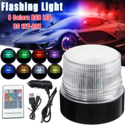 30W 8 Cores RGB LED de aviso magnético caminhão de sinalização de emergência do veículo automóvel Aviso de Cuidado de sinalização de perigo luz intermitente de segurança