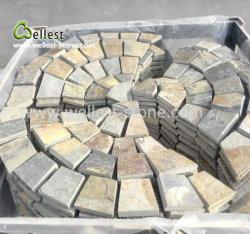 Pizarra oxidada de guijarros en abanico piedra en la malla para pavimentación exterior