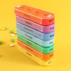 La vitamine grand voyage personnalisé amovible Push Rainbow Private Label semaine 7 jour imperméable en plastique clair pilule case Hebdomadaire