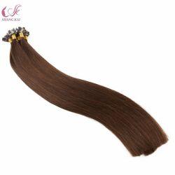 贅沢な品質倍によって引かれる100%の人間の毛髪の平らな先端のPrebondedインドのRemyの毛の拡張