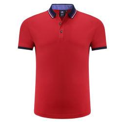 Kleid-Sport-Abnützung-Männer, die Golf-Polo-Shirt-Ineinander greifen-Polyester-roten schnellen trockenen Polo-Hemd-Großverkauf 100% kleiden
