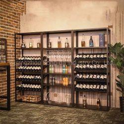 金属の壁のワインの飾り戸棚のワインラック棚