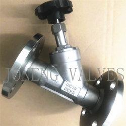 Acero inoxidable Joneng Manual sanitarias extremos de la brida Válvula de asiento de ángulo con plástico Rueda (DIN-STV 1001)