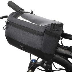 サイクリングハンドルバー収納バスケットバッグマウンテン自転車フロントフレームバッグ サイクリング用透明防水タッチスクリーン電話ホルダ付き