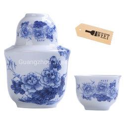 中国の青と白の磁器製の花瓶形焼缶