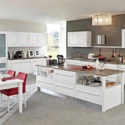 カスタムモダンホワイト塗装ハイグロスラッカーアイランドシェイカー合板 食器棚収納木製キッチンキャビネット