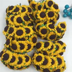 Girasol artificial Caja de regalo Caja de caramelos de Flor de la tarjeta de bricolaje decoración flor artificial