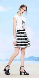 Estrutura de lazer de moda jacquard e preto com listra branca Senhoras diafragmas