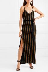 La mode des vêtements de femmes robe en mousseline de soie à rayures Velvet-Trimmed Fashion maxi