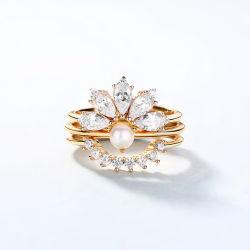 نوع ذهب يصفح لذيذة تصميم ميل مجوهرات نهريّة لؤلؤة حل يثبت في 925 فضة