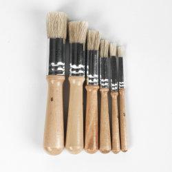 27699 アクリル用再使用可能な木製ハンドル付きペイントブラシセット 木製金属製壁デッキ用の塗料染色接着剤