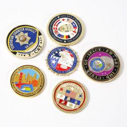 Monete militari del ricordo 2D/3D di vendita diretta della fabbrica del metallo di sfida su ordinazione dello spazio in bianco per il regalo promozionale