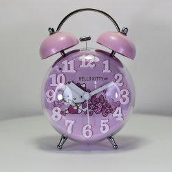 95 مم بينك مرحبا كيتي كارتون الأطفال منبه ساعة جرس غرفة نوم الساعة
