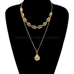 Legierungs-Gold überzog Form-Entwurfs-multi Schicht-nachgemachte Schmucksache-Böhmen-Halskette mit Shell-Form