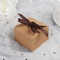 Papel Kraft Retro Vintage cor branca Mini Caixa de papel pequena caixa de doces com fita de embalagem de bolo de aniversário de bricolage