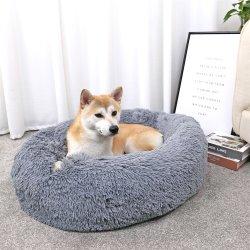 Tempo falso tecido de peles de cão confortável cama Donut Rodada Dog Bed Super Macio lavável Almofada Pet Bed