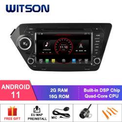 مشغل أقراص DVD بنظام تحديد المواقع العالمي للسيارة Wittson Quad-Core Android 11 لـ KIA شاشة K2 Capactive 1024*600
