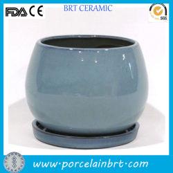 Commerce de gros de la Chine usine de céramique émaillée de couleur des pots avec soucoupe